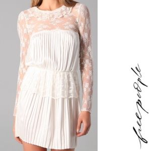 FREE PEOPLE Victorian Ivory Lace Ruffled Dress 0